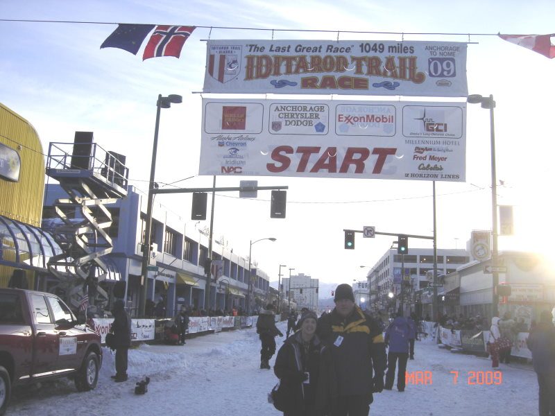 Alicia and James at the                     Iditarod in 2009